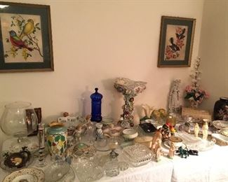 Glassware, crystal, porcelain figurines, etc.