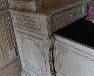 """Painted and lacquered soft wood French cupboard.  Scalloped shelving.  19th Century.  (52.5""""w x 21.5""""d x 100.5""""h) ~ Please send inquiries via text to 251.525.0966 and reference the photo number."""