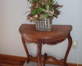 1/2 ROUND CARVED SIDE TABLE