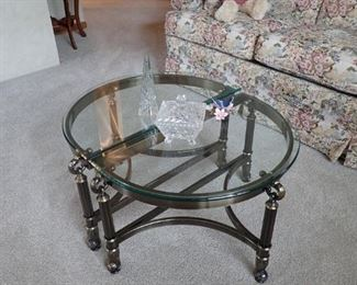GLASS AND SILVER COFFEE TABLE W/EXTRA GLASS - THE TWO PIECES SEPARATE.