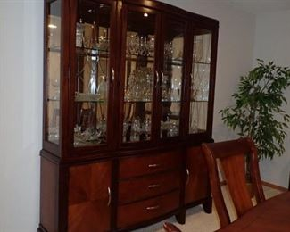 CHINA HUTCH AND ALL THE GLASSWARE