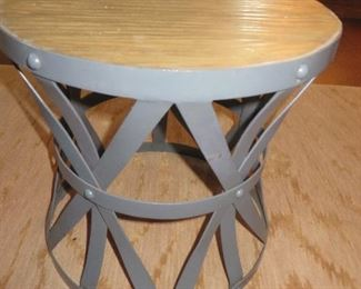Industrial Round Wooden Top Metal Accent Table