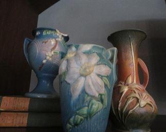 Roseville Clematis Vase Blue Floral Matte Roseville Zephyr Lily Vase Brown