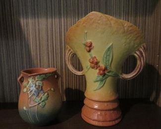 Roseville Columbine Vase  Brown Roseville Bittersweet Vase