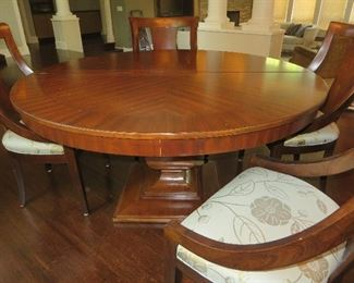 Contemporary Baluster Pedestal Dining Table &  Sling Chairs