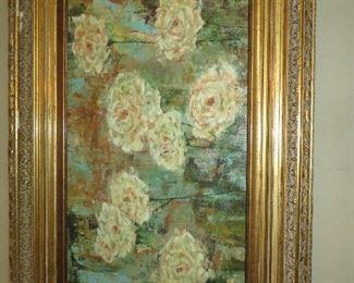 """Floating Roses""  Art Work  Gold Frame"