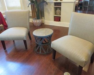 Horizontal Striped Accent Chair Industrial Round Wooden Top Metal Accent Table