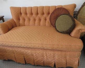 Orange Tufted Back Settee