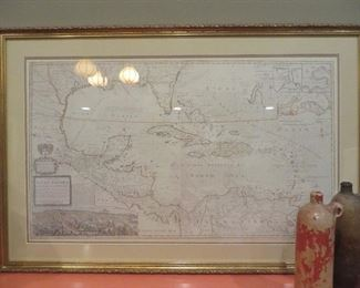 Framed Map West Indies