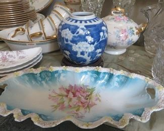 Antique Hand Painted Celery/relish Dish/tray