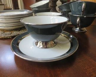 """Gorham """"Contessa"""" 8 Tea Cups & Saucers"""