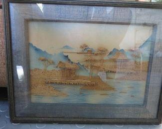 Chinese Cork Art Framed