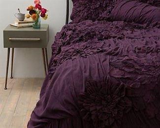 Anthropologie Nimbus Duvet Cover Plum - looks like on Bed