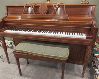 Young Chang Upright Console Piano & Wooden Storage Bench