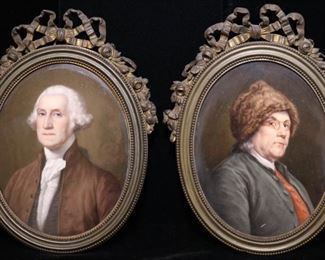 Pair of French miniature portraits ft. George Washington and Ben Franklin, signed en verso LeRosen, Paris