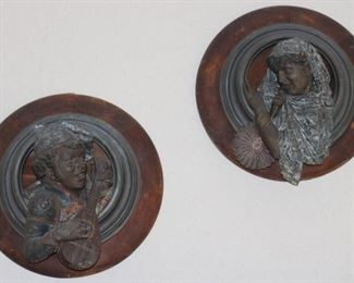"""Pair of 19th Century Orientalist painted metal and wood frame hanging decorations, 18"""" diameter"""