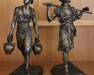 Pair early 20th century bronzes in the manner of Emile Pinedo and Marcel Debut