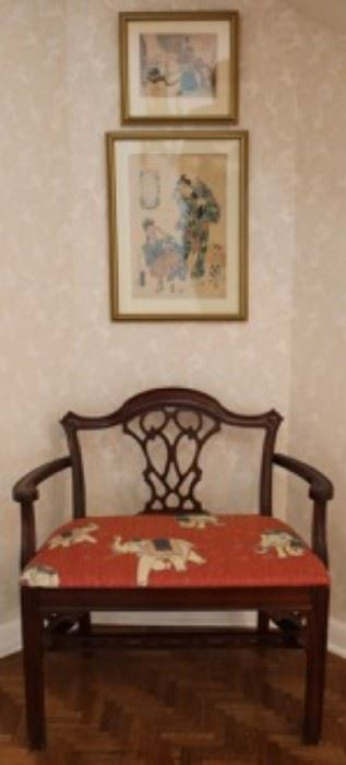 Antique Japanese woodblocks, upholstered vanity bench
