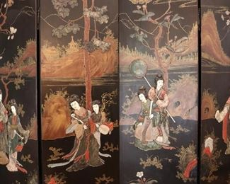 An Exquisite antique Chinese 6 panel hardstone and bone screen
