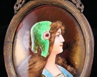 One of a pair of rare enamel miniature portraits