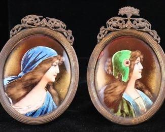 Pair miniature enamel portraits