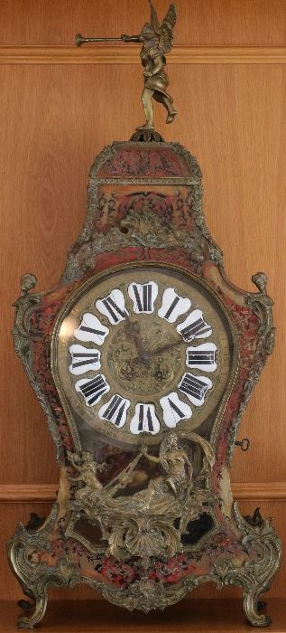 Monumental Antique French bronze and tortoiseshell mantel clock