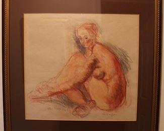 Original Moses Soyer colored pencil