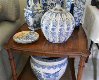 END TABLE, BLUE POTTERY