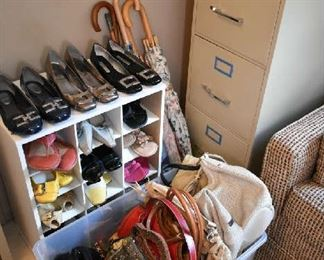 SHOES (SIZE 6), PURSES, FILE CABINET