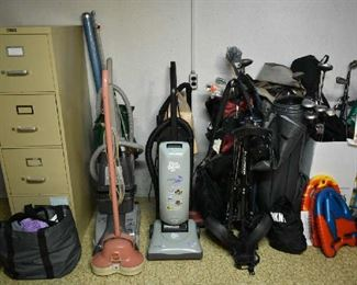 FILE CABINET, VACUUMS, GOLF CLUBS