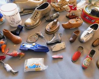 As you can see, this is not just a mini shoe collection. Some are toys, lighters, pocket knives, key chains, travel souvenirs, pin cushions, holiday decorations, pencil sharpeners, barware, Salt n peppers, banks, lamps, candy holders, ash trays, snow globes, pipes, match holders, candlesticks, planters, thermometers, even pet toys! You name it - we have it!