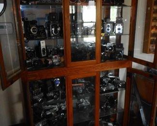 Cabinet Filled with Vintage Cameras. Cabinet is NICE Beveled Glass, Lighted, Glass Shelves