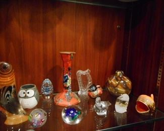 Various Paper Weights, Art Glass, Waterford Harp