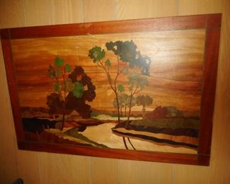 Vintage Pastoral Scene Inlay, Made with 15 Different Woods