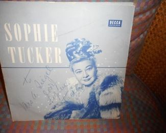 Sophie Tucker Autographed Record