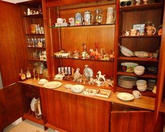Danish Mid Century Break Front Curio Cabinet