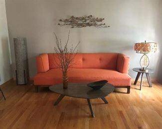 """Amazing Lines Orange Sofa   84"""" x 34"""" deep. $495 presale."""