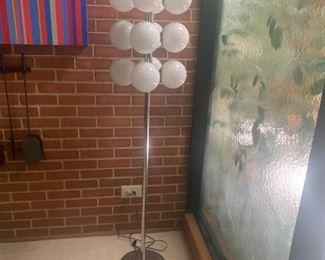 Mid Century Modern White Glass  and Chrome Floor Lamp- Asking $450