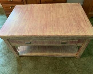 Distressed table with lift top