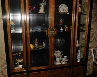 Exquisite Mid Century china cabinet with Asian styling