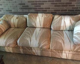 Beautiful MCM 3 cushion sofa.  Wheat pattern. International Furniture. 1 of 2
