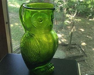 Mid Century green glass owl pitcher