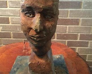 Wonderful folk art chip carved bust