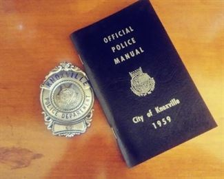 Authentic Police badge and hand book 1959 Knoxville.