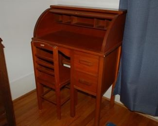 Child's roll top desk with chair