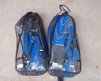 Two sets of Aqua Lung snorkeling equipment