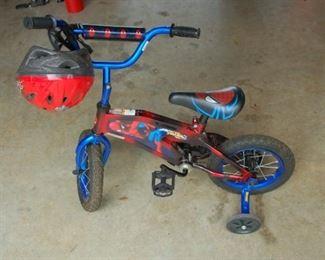 Spider Man Children's bike with training wheels and safety helment
