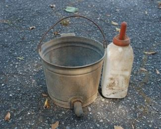 Calf Nursing bottle, vintage nursing bucket