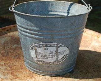 "Vintage ""Deluxe"" galvanized bucket"