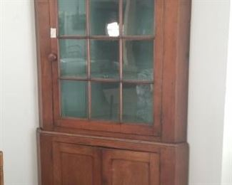 4 over  3 pane antique cherry corner cuboard